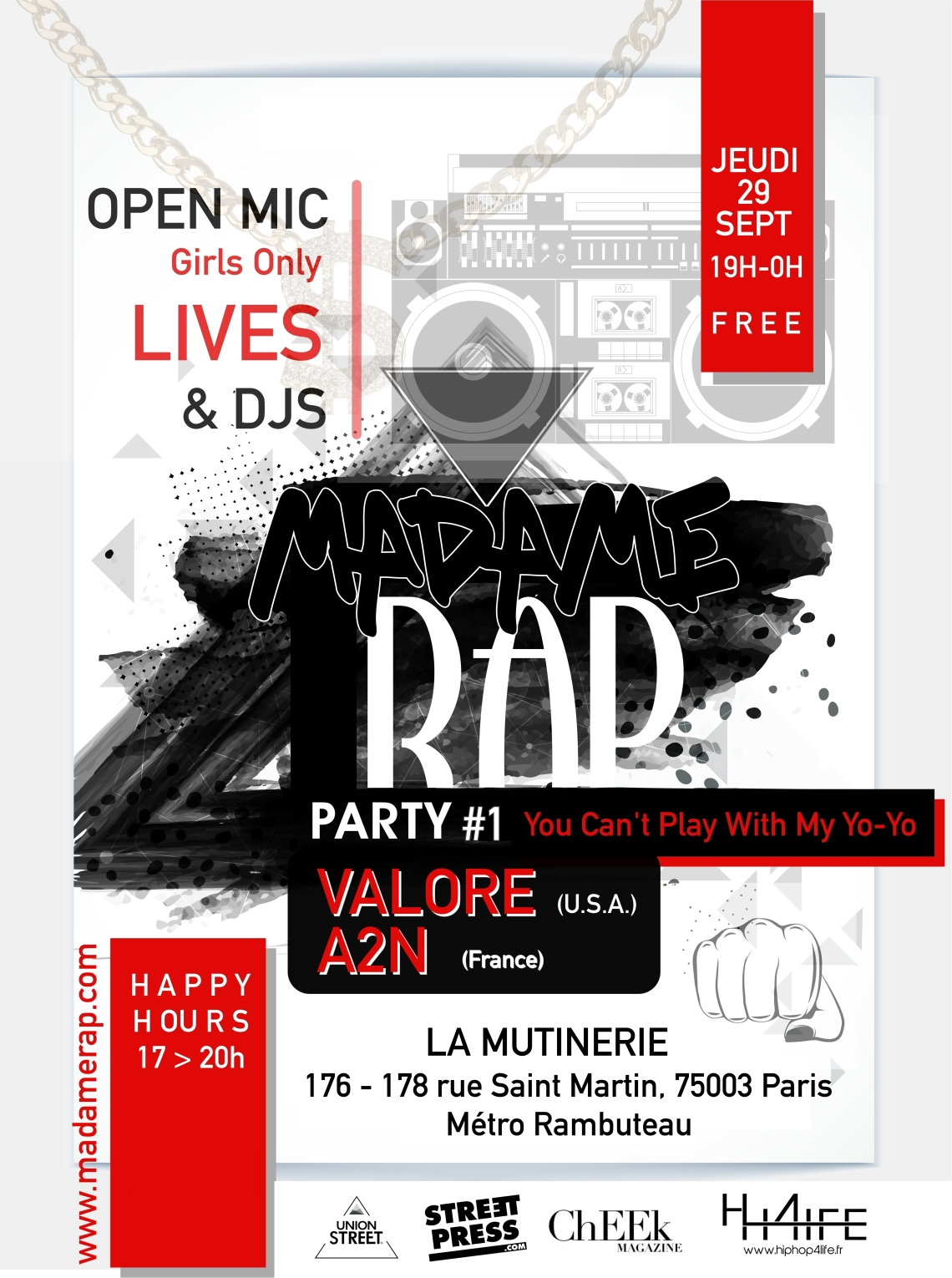 Flyer Madame Rap - Mutinerie V1